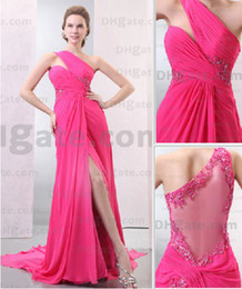 Wholesale 2013 New Sexy One Shoulder Applique Beaded Split Party Dress Evening Dresses DH00120