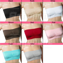 Wholesale 10 Women colorful Strapless Top Padded Bandeau Bra accessories Colors in choice