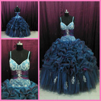 Wholesale Quinceanera Dresses Floral Spaghtti Straps Ball gowns pleated Ruffle Bandage bandage