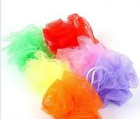 Wholesale Mesh Pouf Sponge Bathing Spa Shower Scrubber Ball Colorful Bath Brushes Sponges