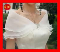 Wholesale 2016 Stock White Ivory off the shoulder Organza Wedding Bridal Dress Jacket wraps wrap NEW