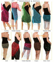 Wholesale Triangle Crochet Net Sequins Belly Dance Hip Scarf Sexy paillette hip Belt Skirts