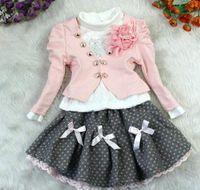 Girl 5T-6T Medium NEW design 4sets lot Baby Girl's Autumn Clothes Sets (tshirt + coat + skirt) Children Suits bc...6