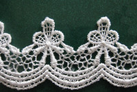 Wholesale Type_1 yard beautiful White Flower Lace Chiffon Fabric Trim DIY Bridal wedding Doll More Shape