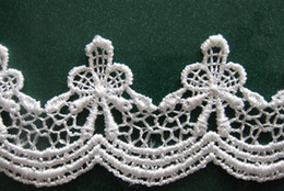 Wholesale Type_1 yard beautiful White Flower wave Lace Chiffon Fabric Trim DIY Bridal wedding Doll More Shape
