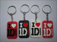 Wholesale I love D keychain One Direction dog tag Silicon key tag colours