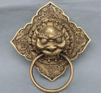 Wholesale Lucky Chinese China Fengshui Dragon Phoenix Brass Lion Mask Door Knocker