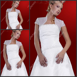 Wholesale Organza Short Sleeve Bridal Jacket Simple White Wedding Accessories