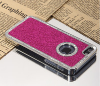 Wholesale Glitter Bling Diamond Rhinestone electroplate Metal Chrome ring Hard Case for iphone case color