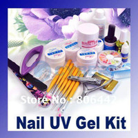 No acrylic nails polishers - Professional Full Set Acrylic Nail Art Kit Combo Manicure UV Gel DIY Sparkle Tips Polisher Brushes F