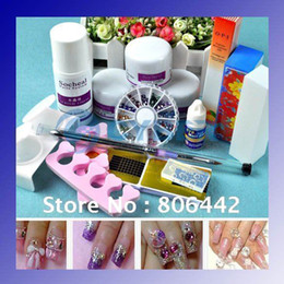 Wholesale DIY Acrylic Nail Kit with Powder Liquid glue forms brush Full tools Retail amp