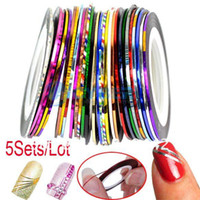 Metal nail stickers - 5Sets Sets Mixed Colors Rolls Striping Tape Line Nail Art Decoration Sticker Free Shippi