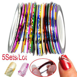 Wholesale 5Sets Sets Mixed Colors Rolls Striping Tape Line Nail Art Decoration Sticker Free Shippi