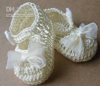 (3-4M) 10 yards Crochet Shoes Boy 20%off 8pairs lot Newborn Baby Doll Girl Crib Shoes Crochet Baptism Reborn baby shoe.