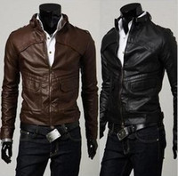 Wholesale Hot Sale Fashion Sexy Men s PU Leather outerwear Jacket Jackets Coat Slim clothing Black Brown size
