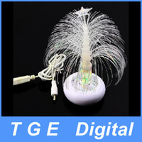 Christmas Tree mainly clear & white 140 x 57 x 57mm/ 5.5 x 2.2 x 2.2-inch USB Optical Fiber Multi Color Changing Christmas Tree LED Light for Laptop
