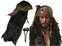 Polyeter beard wig - Retail Set Pirates Caribbean Jack Sparrow Costume Accessories Wigs Beards Sets