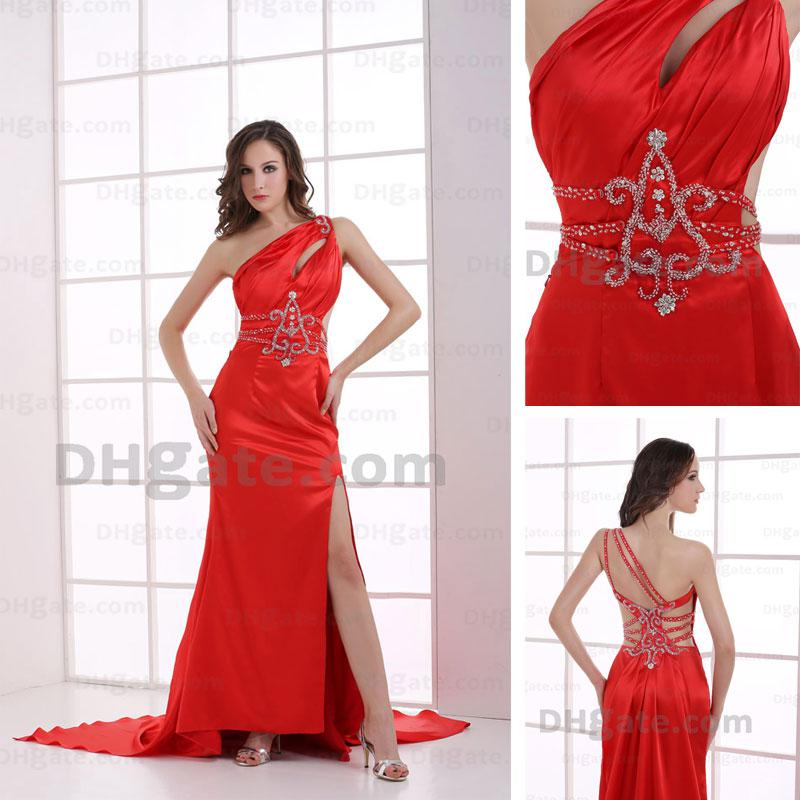 2013 New Arrival One Shoulder Red Prom dress Shiny Beading Chapel    Red One Shoulder Prom Dresses 2013