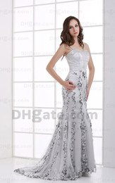 2015 Sexy Silver Spaghetti Straps Mermaid Evening Dresses Beaded Tulle over Satin Dresses MZ084 Dhyz 01