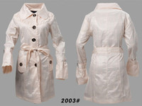 Drop Shipping Womens With Belt Trench Coats Single- Breasted ...