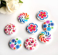 Wholesale Circular printing flowers and trees button sweater rurality cartoon button children button CM