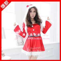 Wholesale Hot Christmas Sexy costumes Santa Claus Discount Lucky Red Long Sleeve Shot Skirt