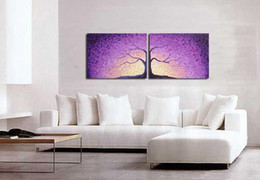 oil painting Purple Landscape Tree Modern Abstract home office decoration wall art decor Handmade