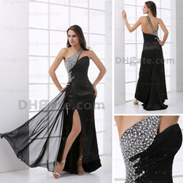 Famous One Shoulder Beading Evening Dress Rhinestone Black Chiffom Court Prom Dress Real Image HX18 dhyz 01