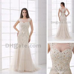 Luxury Beaded Embroidery Evening Pageant Dresses Transparent Neckline Cap Sleeves Sheer Top and Back Tulle Gowns Real