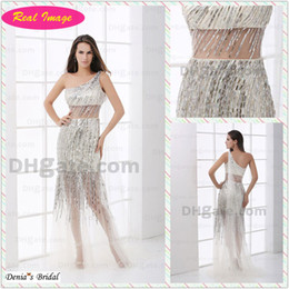 2015 Attractive Sliver Beading tassel One Shoulder Party Dress Sheer Tulle Cocktail Real Image HX23 dhyz 01