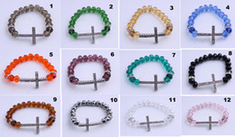 Sideways Cross charm Bracelet Rhinestone Cross with faceted crystal Rope 10pcs Bracelet