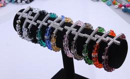 Wholesale Popular style pc Bracelet Sideways Cross charm Bracelet Rhinestone with faceted crystal Rope