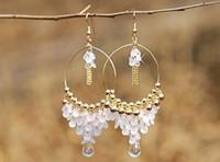 Wholesale Fashion Bohemia Gold Paillette White Beads Water Drop Tassel Hoop Earrings