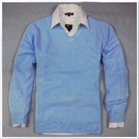 Wholesale Light Blue Men s sweater V Neck Hot Drop shipping Multicolor Size M XXL free order