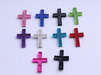 Connectors sideways cross charm - The latest style Sideways Rhinestone Crystal Cross Bracelet Connector Charm bead