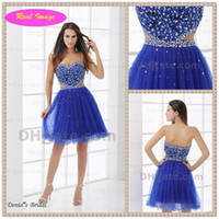 Wholesale Beautiful Blue Sweetheart Shiny Sequins Mini Cocktail Party Dress Ruffled in botton Real Image HX30