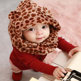 Wholesale Fashion Leopard Cap Kids Scarf Baby Winter Scarf Children Caps Kids Winter Cap Animal Winter Hats