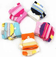 Wholesale Fashion Gloves Winter Mittens Knit Fingerless Gloves Girls Knitted Gloves Half Finger Knit Gloves