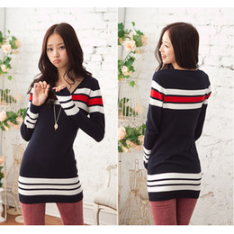 Wholesale New Women Navy Stripe V Neck Long Sleeves Stretchy Slim Knit Dress Ladies Sweater mini Tunic Casual Dresses G0031