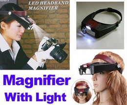 Wholesale Watch Repair Head Headband Magnifier Glasses Loupe X With LED Light Freeshipping Tool Magnifier