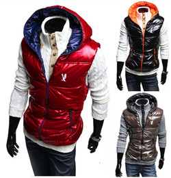 Wholesale 2466 Winter warm Men s eagle embroidery vests Hoodie Sleeveless vest Outwear Size M L XL XXL