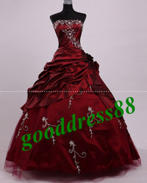 Wholesale Stock Burgundy Strapless Embroidery Taffeta Quinceanera Dresses Prom Ball Gowns Sz