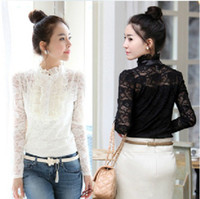 Wholesale Fashion Blouses Lace Blouse Ladies Blouses Lace Blouses Long sleeve Blouse Black White Blouses
