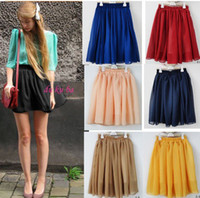 Wholesale 2012 new arrval fashion Retro high waist pleated accordion double layer chiffon skirt Pompon skirts