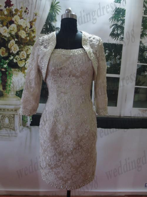 Short Sheath Strapless Beaded Lace Knee-length with Lace Jacket Mother