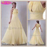 Actual Images beaded bust dress - Elegant Light Yellow chiffon Jewel Zipper Prom Dress Chic Bust Ruffled Evening Dress Real Image HX38