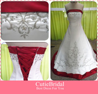 Wholesale Embroidery Wedding Dress Red amp White Bridal Gown Chapel Train Lace Up Back