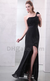 2015 Fashionable Black One Shoulder Sheath Bridesmaid Dresses Side Slit Chiffon Dresses MZ078 Dhyz 01