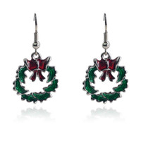 Wholesale Green Alloy Rhodium Plated Christmas Wreath Garland Earrings Stud Jewelry Hot Sell per