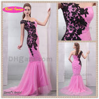 Actual Images pink and black prom dresses - 2015 Beautiful Pink and Black Appliqued Prom Dress Sexy Mermaid One Shoulder and Chapel Train dhyz